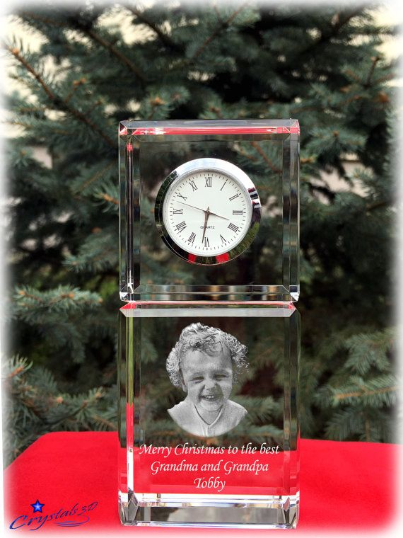 Crystal clock Christmas gift Chirtmas by Crystals3DEngraving