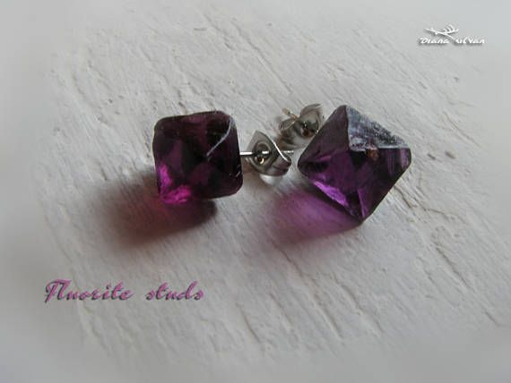 Purple fluorite earrings natural fluorite octahedron studs