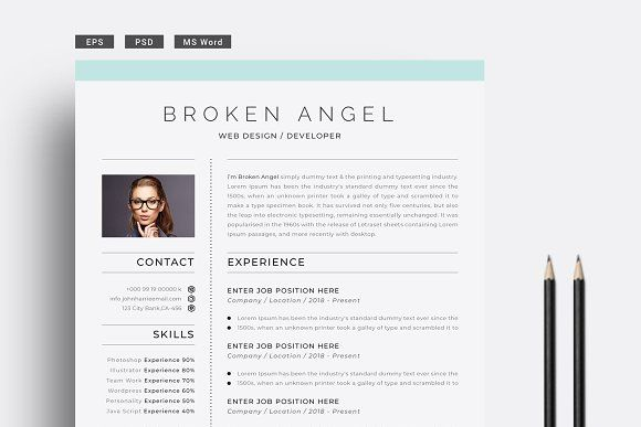 Minimal Resume + Cover Letter by PixWork on @creativemarket