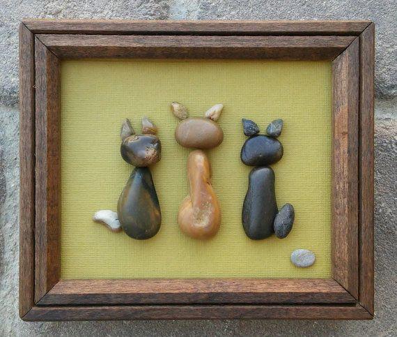 "Pebble Art / Rock Art CATS in a wood 6x5 ""open"" frame, animal lovers, cat lover…"