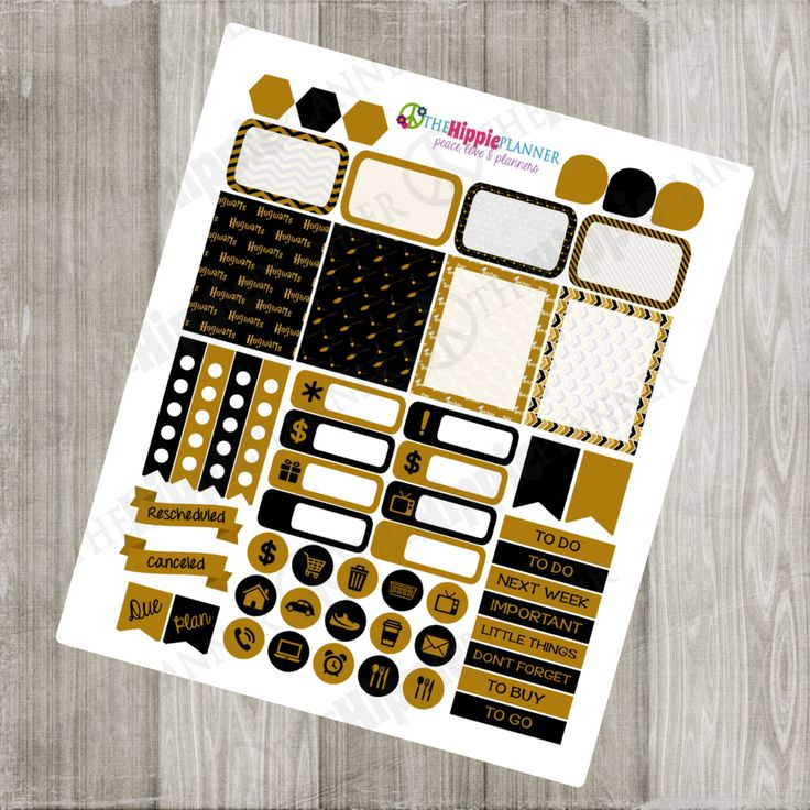 Hufflepuff Inspired Yellow and Black Weekly Kit | Themed Planner Kit | Erin Condren Life Planner, PPP, Filofax, Scrapbooking, Calendars