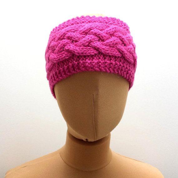 Fuschia Pink Cable Headband  Handknit Ear by SophiesKnitStuff