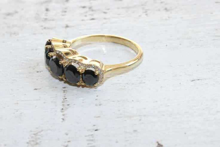 Gemstone Band Ring 18k Gold Filled Custom Made Jewelry