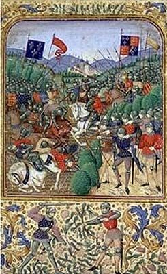 The archers repel the charge of the French cavalry at the Battle of Agincourt.
