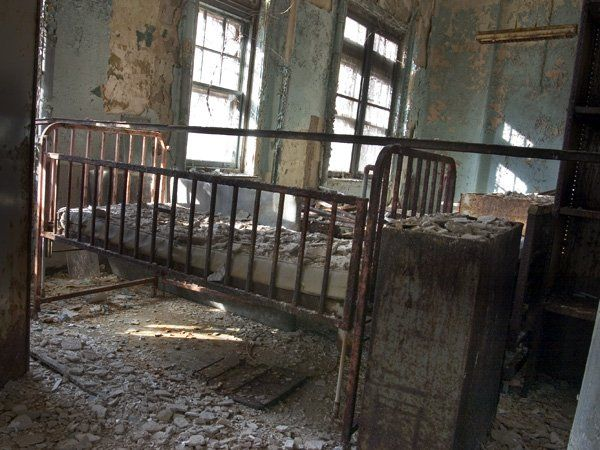 A crib from the Pennhurst State School and Asylum for Children, originally called the Eastern State Institution for the Feeble-Minded and Epileptic (Spring City, Crab Hill).