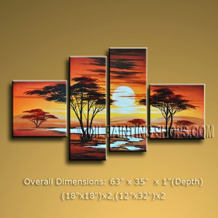 4 Pieces Contemporary Wall Art Landscape Painting Decoration Ideas. In Stock $138 from OilPaintingShops.com @Bo Yi Gallery/ ops2661