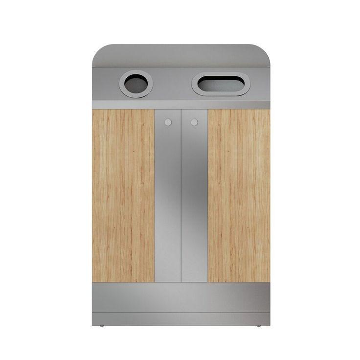 TriResto Poubelle en bois   Inox pour le recyclage en restaurant 90/100L