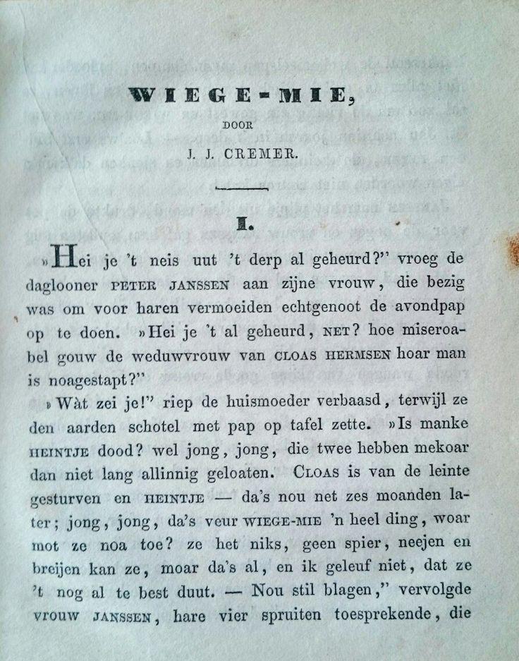 Eerste pagina van de novelle Wiege-mie gepubliceerd in de Geldersche volksalmanak van 1853. Zie www.jacobcremer.nl en Cremer op YouTube.