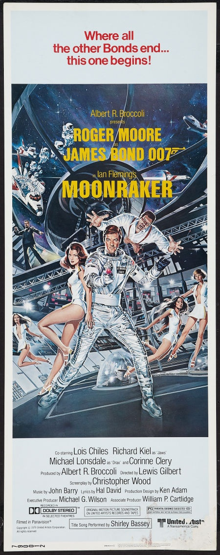 "Moonraker (United Artists, 1979). Insert (14"" X 36""). James Bond.  Starring Roger Moore, Lois Chiles, Michael Lonsdale, Richard Kiel, Corrine Clery, Bernard Lee, Geoffrey Keen, Desmond Llewelyn, and Lois Maxwell. Directed by Lewis Gilbert."