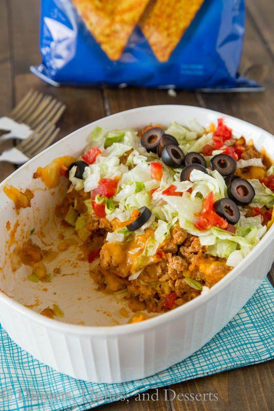 Dorito Taco Casserole - turn tacos into a quick and easy casserole