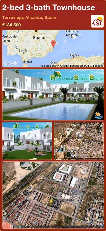 2-bed 3-bath Townhouse in Torrevieja, Alicante, Spain ►€134,500 #PropertyForSaleInSpain
