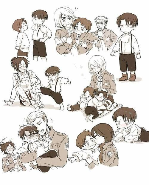 C: Eren Yeager, Levi Ackerman, Hanji Zoe, Ewrin Smith, Petra Ral S: Attack on Titan- im sorry but this is just great.