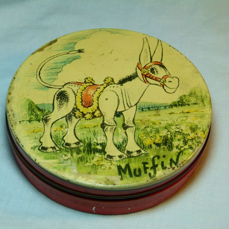 RARE VINTAGE MUFFIN THE MULE HUNTLEY&PALMERS BISCUITS TIN 1950S