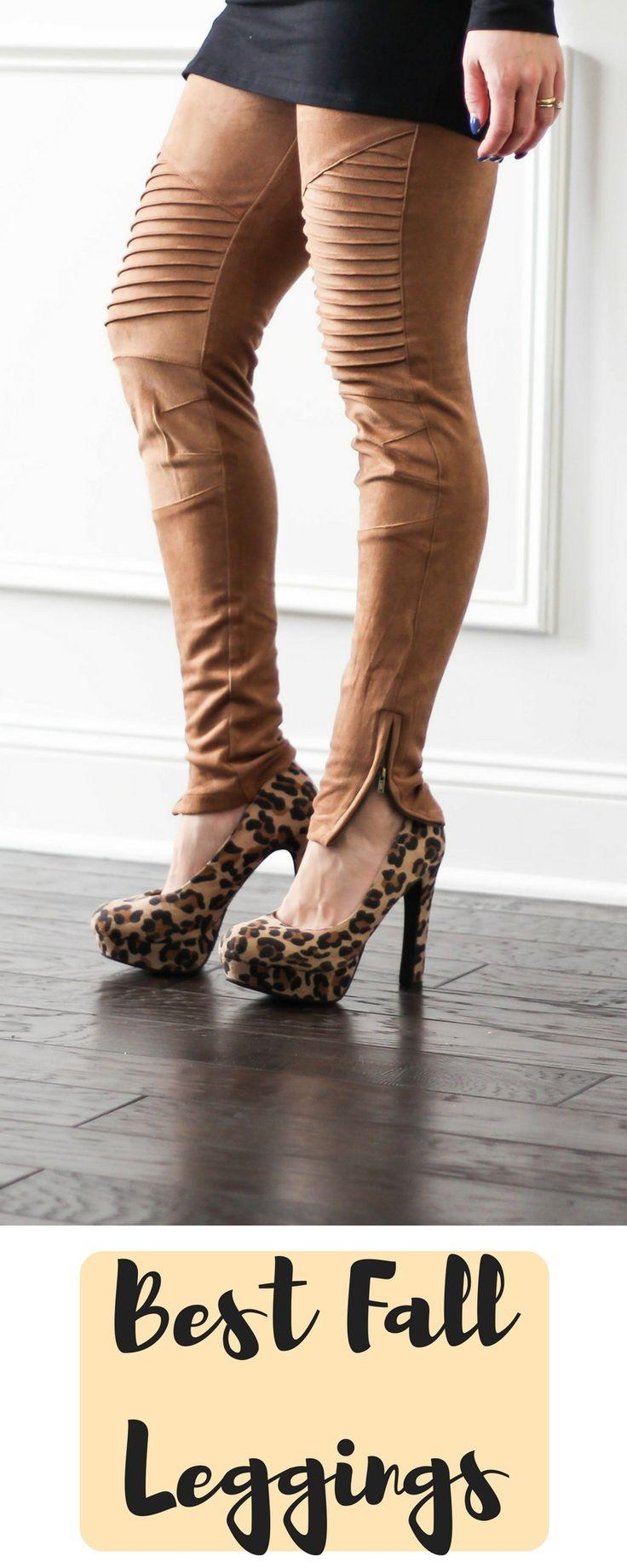Fall Fashion | Fall Leggings | Faux Suede Leggings | Moto Leggings | Ankle Zipper | Winter Leggings | Dressy Leggings | Motherhood style | Motherhood Fashion | Maternity | PinkBlush | Animal Print |