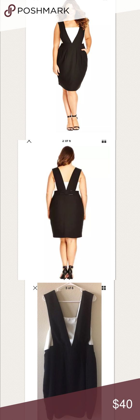 """$119 City Chic Black Tiffany Bow Back Dress $119 City Chic Black Tiffany Bow Back Pinafore Dress ~Size XL/22~  Sold out! Retails for $119 + Tax  Very good condition, gently worn Black and cream Sleeveless Zips on side wide supportive straps  Size XL/Plus size 22  Measures approximately: total length 43"""" bust across 22.25"""" 100% polyester  Washed and ready to wear!   PRICED TO SELL FAST! PLEASE ASK ANY QUESTIONS BEFORE PURCHASE, THANKS CHECK OUT MY OTHER DESIGNER HANDBAGS AND CLOTHING! City…"""