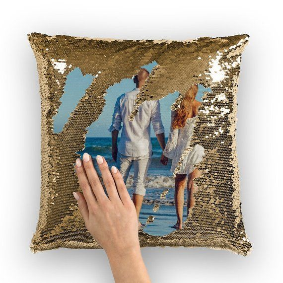 Custom Sequin Pillow Personalized Reversible Sequins Fathers Etsy Sequin Pillow Pillows Sequins