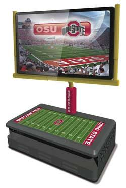 The new Gridiron Goalpost TV stand can be customized with the logos of some college football teams, including Ohio State University.