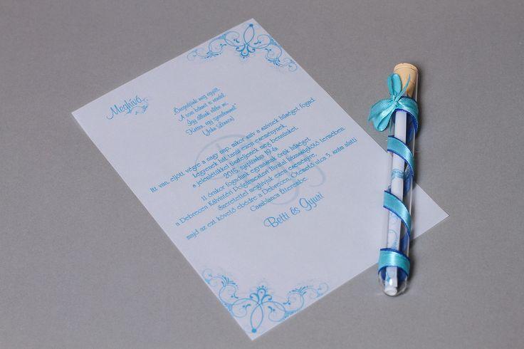 Kék kémcsöves esküvői meghívó _ light blue message in bottle wedding invitation