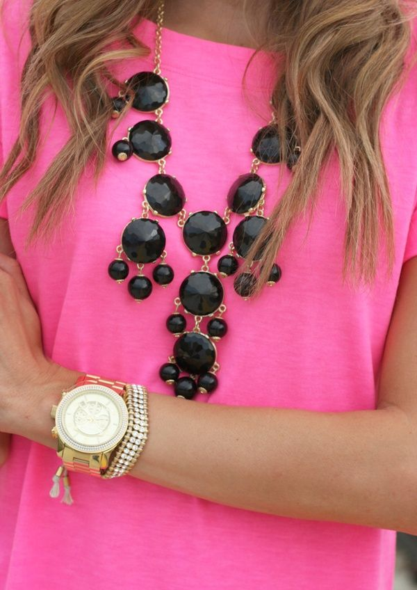 Cute: Colors Combos, Statement Necklaces, J Crew, Black Gold, Black Necklaces, Bubbles Necklaces, Bibs Necklaces, Chunky Necklaces, Pink Black