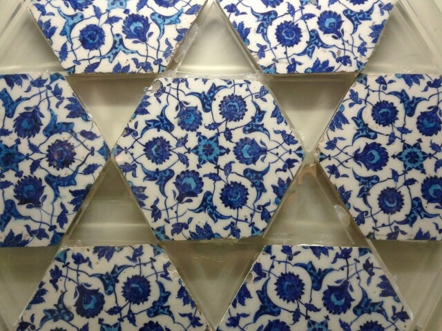 Blue and White Hexagonal Tiles With Turquoise, iznik, glazed, ca. 1530