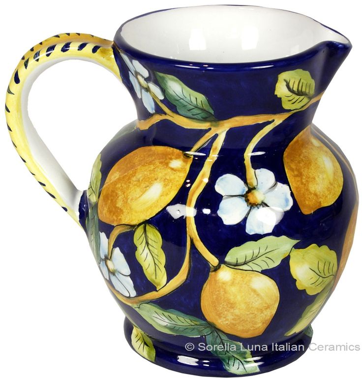 Hand Painted Ceramic Majolica Pitcher