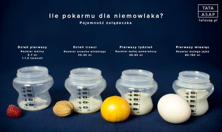 Rozmiar żołądeczka niemowlaka. Porównanie, które obrazuje jak dużo pokarmu jest w stanie zjeść niemowlak w określonych okresach czasu.