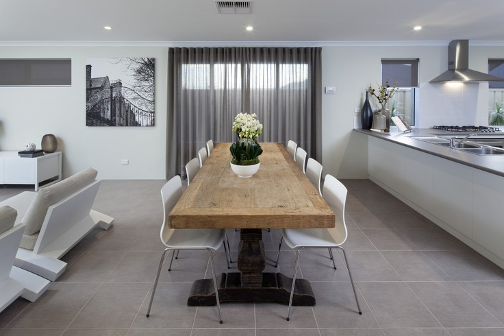 Kitchen, dining and living area - open space with tiled floors