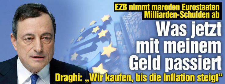 Entscheidung über Ankauf von Staatsanleihen: Machen die EZB-Banker unser Geld kaputt? BILD erklärt, was es bedeutet, wenn die EZB die Finanzmärkte mit Geld flutet: Dax steigt, Euro fällt http://www.bild.de/geld/wirtschaft/europaeische-zentralbank/euro-krise-anleihe-kauf-macht-die-ezb-unser-geld-kaputt-39420346.bild.html