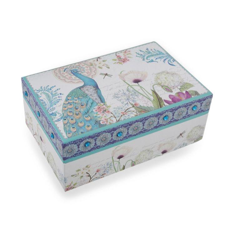 Sparkling Peafowl Flower Garden Mirrored Jewelry Box, Silver