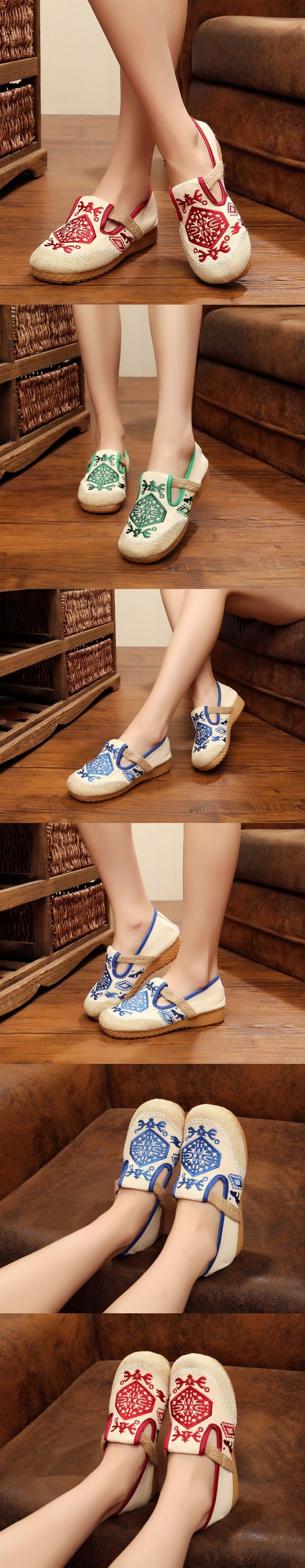 New Fashion Kid shoes Women Casual Walking Shoes Chinese Style Old Peking Ballet Flats Flower Embroidery Canvas Casual shoes $26.58