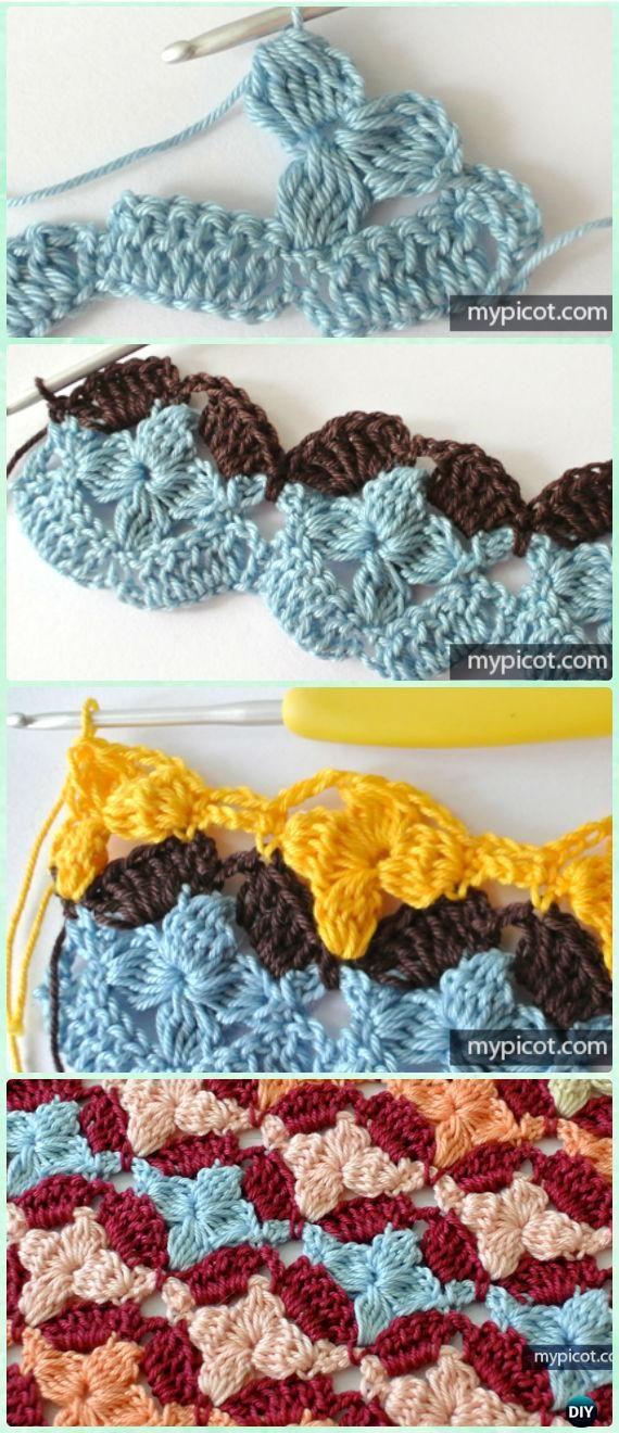 Crochet Custer Fiore Stitch Free pattern - modelli all'uncinetto Flower Stitch gratuiti