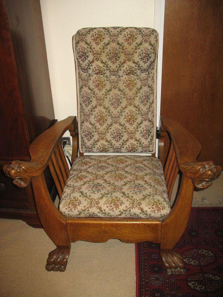 Antique quartersawn oak morris chair recliner living