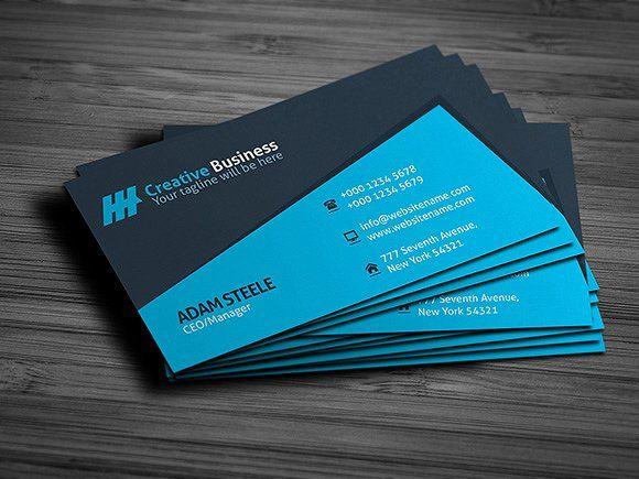 Blue Creative Business Card Template Files Details Vector Print Business Cards Creative Templates Business Cards Creative Cool Business Cards