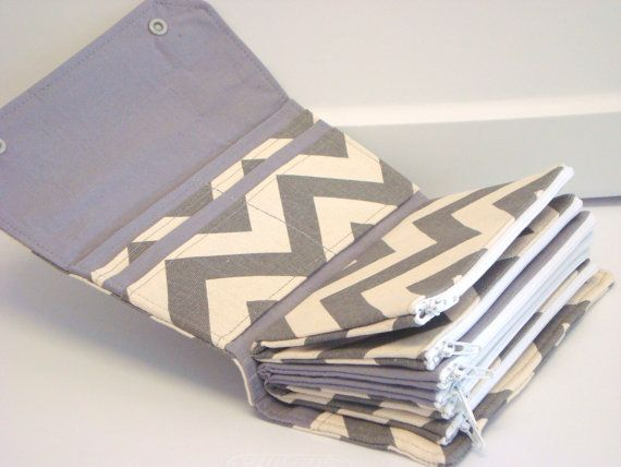 Cash Envelope Wallet / Dave Ramsey System / ZIPPER Envelopes - Gray and Natural Chevron Zig Zag