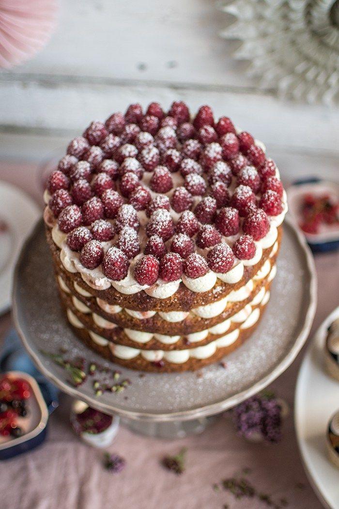 Himbeer Mascarpone Kuchen Mit Keksboden Appetitlich Foto