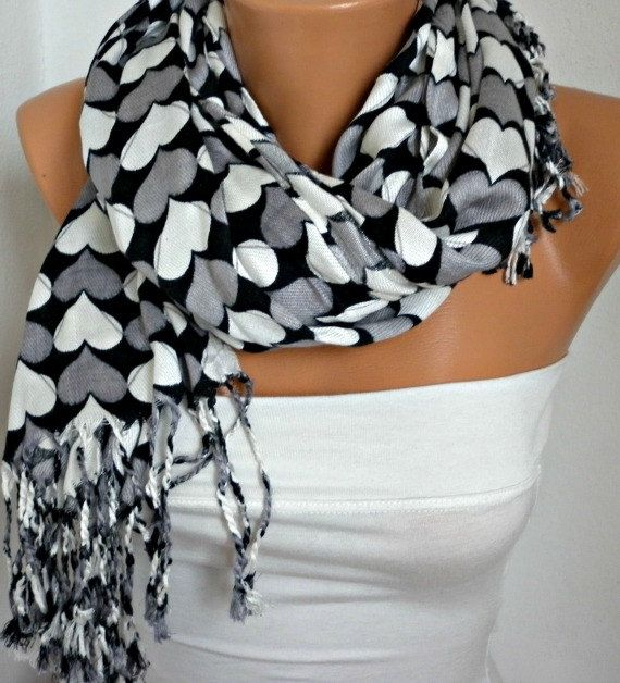 ON SALE - Heart  Scarf  Pashmina Scarf Women  Scarf  Shawl Scarf -  Cowl Scarf with Heart  - Multicolor - Gray White Black - fatwoman on Etsy, $18.00