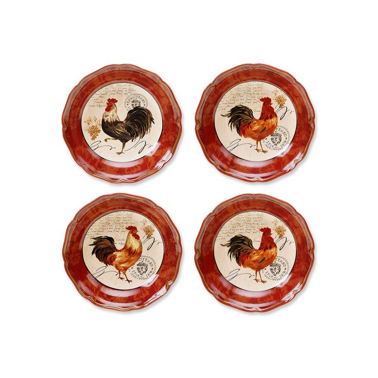 Certified International Tuscan Rooster by Pamela Gladding 4-pc. Pasta Bowl Set, Red