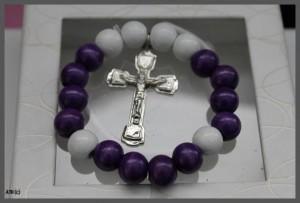 Round Wooden Beads Cross Bracelet
