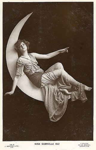 vintage women on crescent moon #postcard:
