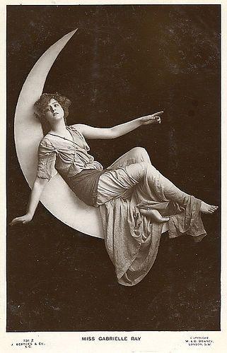vintage women on crescent moon #postcard: