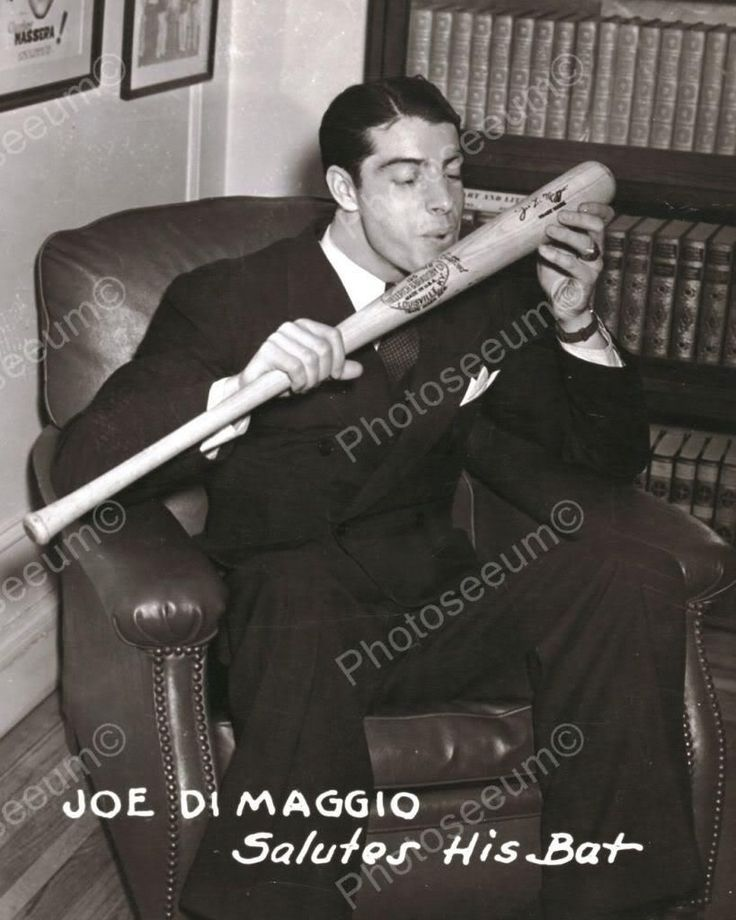 Joe DiMaggio Kisses Baseball Bat 1900s 8x10 Reprint Of Old Photo
