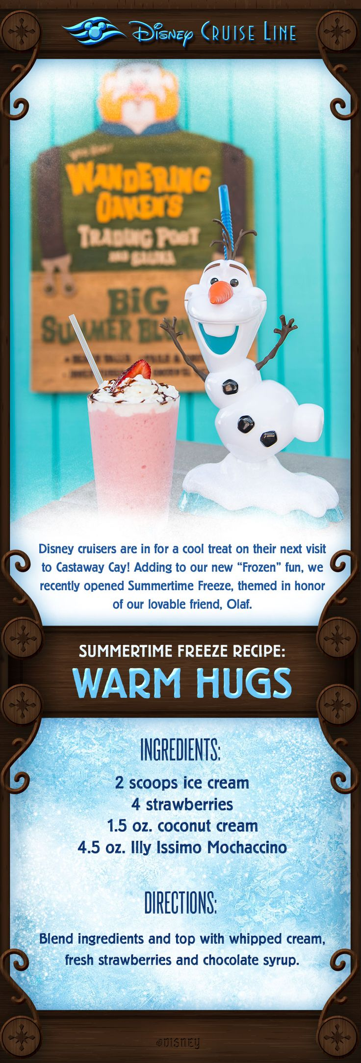"""Disney cruisers are in for a cool treat on their next visit to Castaway Cay! Adding to our new """"Frozen"""" fun, we recently opened Summertime Freeze! Check out this cool treat inspired by the new location!"""