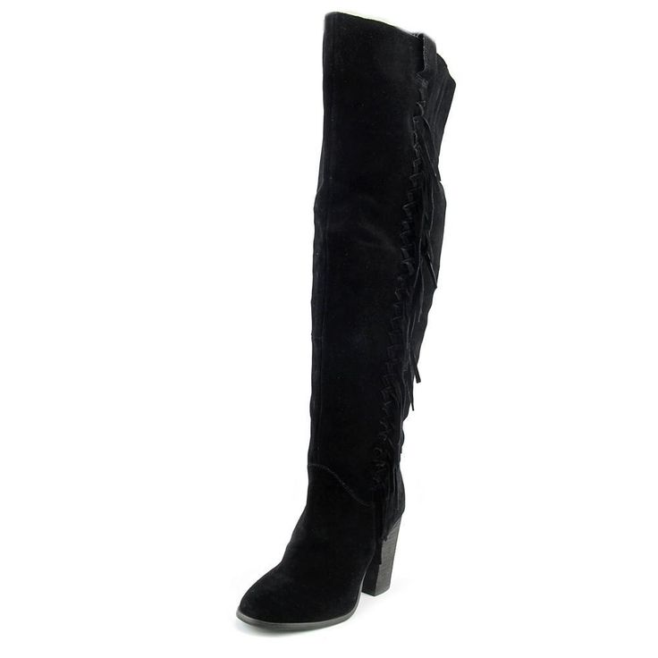 Carlos By Carlos Santana Garrett Women Leather Black Over The Knee Boot