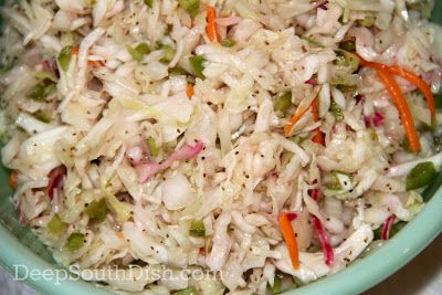 Forever Slaw - a basic coleslaw, dressed with a sweetened vinaigrette, called Forever Slaw because of it's long refrigerated shelf life.