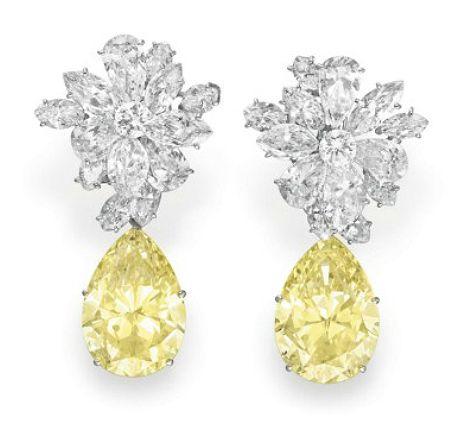 Jewelove: Taylor's Yellow Colored Diamond and Diamonds Ear Pendants