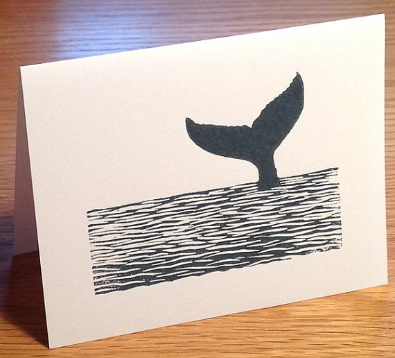 Whale tail linocut block print card by LinoGal on Etsy