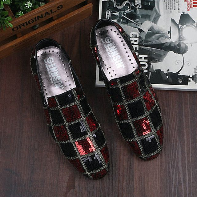 CANGMA 2017 Italian Loafers Luxury Men Flats Shoes Casual Glitter Sequins Black Red Men's Dress Shoes Business Schoenen Mannen