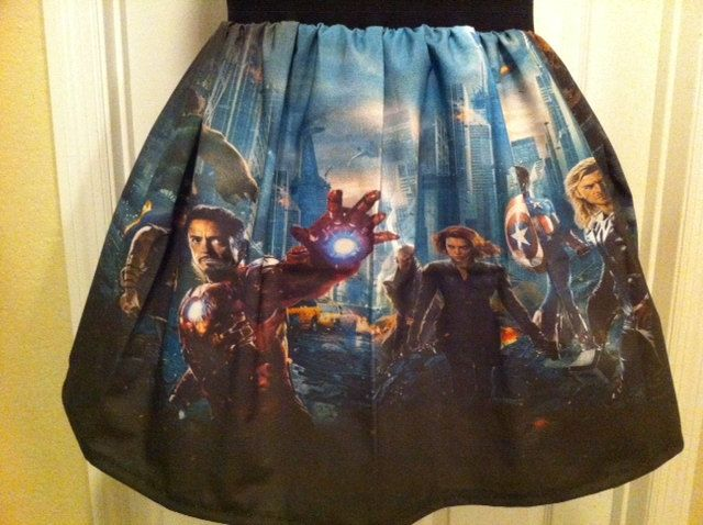 One of a kind Avengers inspired skirt - made to order. $45.00, via Etsy.