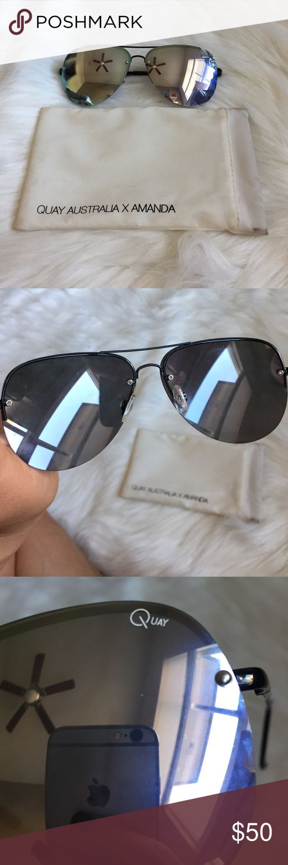 Quay Australia Amanda Steele sunglasses •glasses have no scratches on the , glasses case is dirty because it's white, easily washable Quay Australia Accessories Sunglasses