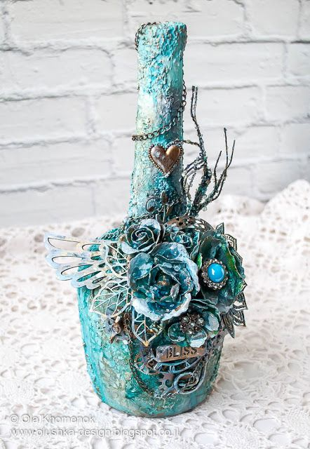 LikeArtStudio by Ola Khomenok: Mixed Media. Altered bottle.